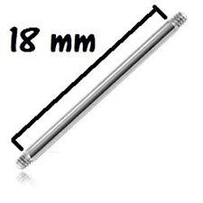 Accessoire piercing tige de 1,2 mm 16 gauge longueur 18 mm