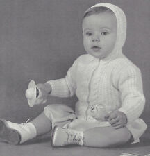 Vintage Knitting PATTERN to make Baby Hooded Sweater Cardigan Cable Rib Hoodie