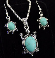 Tibetan Style Cute Turquoise Turtles Necklace Earrings Jewelry Sets XL340