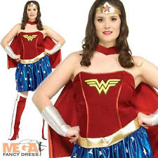 Wonder Woman Fancy Dress Damas superhéroe Traje Talla Plus Xl 16 18 20 Nuevo
