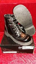 NEW TUK Anarchic Black Leather Brogue Buckle Boots Goth/Punk/Steampunk Size UK 8