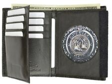 Badge  Shield Concealed Holder Wallet BLACK Leather Fire Security ID Card Round