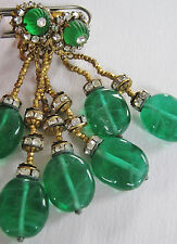 SPECTAC VINTAGE SIGNED MIRIAM HASKELL EMERALD MELON GLASS LUSCIOUS DROP EARRINGS