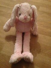 Pink Bunny Rabbit With Fabric Flower Patch