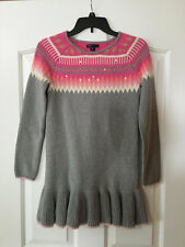 Gap Kids XL 12 Gray Fair Isle Clear Sequin Ruffle Hem Sweater Dress
