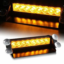 8 LED Amber & Yellow Emergency Warning Dashboard Windshield Flash Strobe Light