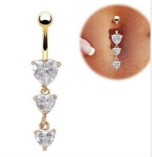 New Body Piercing Gold Navel Rings Heart Crystal Clear Dangle Belly Button Rings