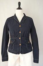 J. CREW Women's Navy Blue Contrast Stitch Belted Short Cotton JACKET sz M