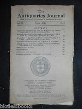 THE ANTIQUARIES JOURNAL - 1940 - Vol 20/Pt 1 - Ronaldsway (Isle of Man), Worcs
