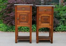 Antique French PAIR Art Deco Oak Marble Top Cabinets Lamp End Tables Nightstands