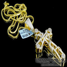 MENS .33CT GENUINE REAL DIAMOND CROSS CHARM PENDANT FRANCO NECKLACE CHAIN YELLOW