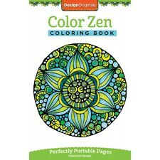 COLOR ZEN-Perfectly Portable Pages-Zentangle Design-Adult Paper Coloring Book
