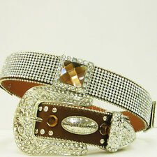 XS S M L or XL Rhinestone Lace BROWN Conchos  Buckle Western Cowgirl Rodeo Belt