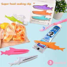 3Pcs Shark Sealing Food Bag Clip Seal Clamp Toothpaste Squeezer Storage Tools