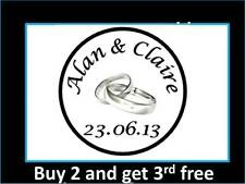 35 Personalised Wedding Stickers Labels Silver Rings Envelopes 3 for 2 Round