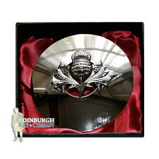 DELUXE TRADITIONAL SCOTTISH KILT FLY PLAID BROOCH - SCOTTISH THISTLE CHROME
