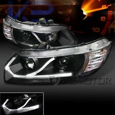 For 06-11 Civic Coupe 2Dr Black LED Strip Projector Headlights Head Lamps Pair
