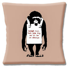 NEW Banksy Graffiti Artist Monkey 'Laugh Now' One Day 40.6cm Pillow Cushion