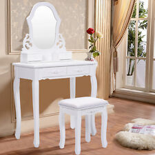White Vanity Jewelry Wooden Makeup Dressing Table Set W/Stool Mirror & 4 Drawer