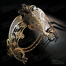Womens Egyptian Chain Venetian Laser-Cut Filigree Metal Masquerade Mask [Gold]