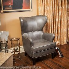 Charcoal Grey Leather Wingback Accent Club Chairs w/ Nailhead Accent