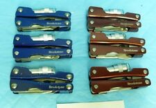 LOT OF 6 BROOKSTONE RED/BLUE FOLDING MULTI TOOLS KNIVES WITH FLASHLIGHTS K26