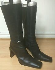 IXOS Italian Designer Womens Black Leather Knee High Heeled Boots Size UK 6.5