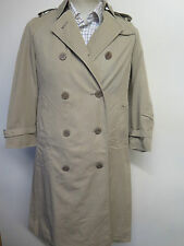 Genuine Vintage Aquascutum Light Olive Raincoat Trench Coat Mac Size UK 8 +Liner