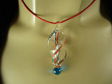 UNIQUE LAMPWORK GLASS BLUE BEAD TWIST HELIX PENDANT NECKLACE W/RED WOOL CORD