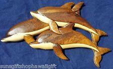 M Hawaiian Triple Dolphin Swimming Jump Handcrafted Wood Wall Hanging Art Hawaii