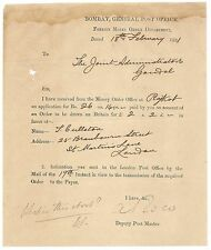 India BOMBAY GENERAL POST OFFICE 1881 FOREIGN MONEY ORDER