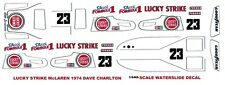 #23 Dave Charlton Lucky Strike McLaren M23 1974 F1 1/64th HO Slot Car Decals
