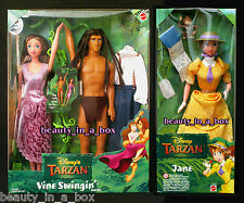 "Tarzan and Jane Doll Disney Vine Swingin Gift Set Movie Lot 2 NRFB"" Box wears."