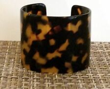 "NWT ANN TAYLOR LOFT 2"" Wide Faux Tortoise Shell Cuff Bracelet Amber & Brown Hues"