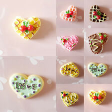 5x Resin Heart Shape Embellishments Cake Food Mobile Phone Jewelry Craft Random