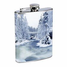 Flask 8oz Stainless Steel Winter Design-006 Drinking Whiskey