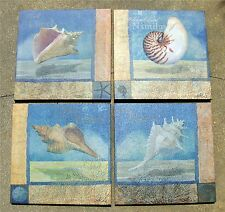 4 PC'S SET OCEAN BEAUTIES  PRINTS ON FABRIC  LACE MUREX, HORSE CONCH, NAUTILUS