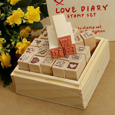 25pcs/set Wooden Box Lovely Diary Pattern Stamp Rubber Cute DIY Writing Scrapboo
