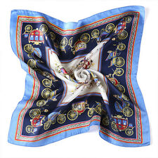 "20"" Small Square 100% Silk Scarf Women neckerchief Shawl Wrap blue red S151-011"