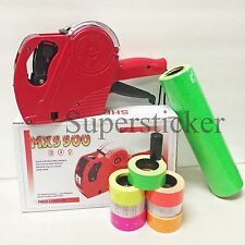 MX-5500 EOS 8 Digits Price Tag Gun Labeler Labeller + 5000 Green labels +1 Ink