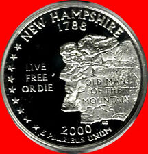 2000 S 90% Silver New Hampshire State Quarter Deep Cameo Gem Proof No Reserve