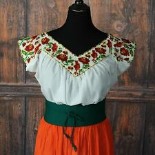Feminine Fiesta Hand Beaded Chaquira Blouse Birds Oaxaca Mexico Peasant Hippie
