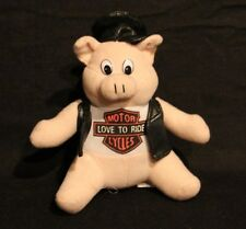 HARLEY DAVIDSON STYLE MOTORCYCLE PIG 6 INCH PLUSH STUFFED ANIMAL VINTAGE TOY