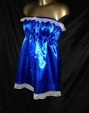 NEW SATINY ROYAL BLUE BABYDOLL NIGHTIE NYLON LACE WITH PANTIES SIZE SML/MED