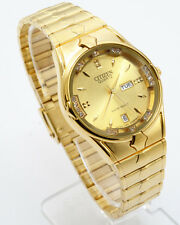 Citizen Quartz Man`s Day Date Gold  Stainless Steel Gold Dial Analog Watch 132M