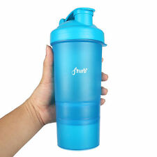 fiTurbo 3 in 1 14 oz Protein Shaker Bottle Blender Sports Drink Supplements Blue
