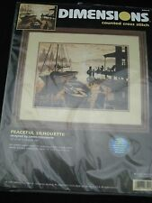 """Dimensions Counted Cross Stitch Kit Boat Dock PEACEFUL SILHOUETTE 13"""" x 10"""""""