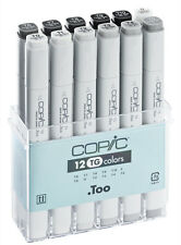 COPIC .TOO MARKER - 12 TONER GREY SET - TWIN TIPPED - 12 UNIQUE COLOURS