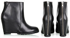 MINIMARKET minimal Black Leather zipper WEDGE ANKLE BOOTS 37 (6.5 US) RARE