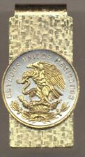 Mexican 20 Centavo Eagle Coin Hinged Money Clip 2-Toned Gold on Silver 108AMC